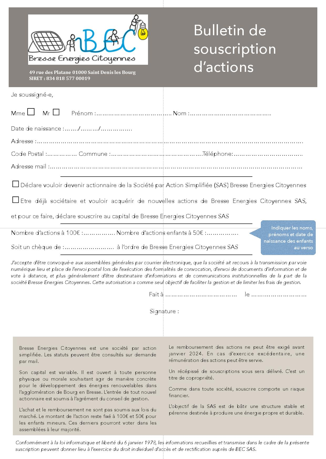 Bulletin souscription verso